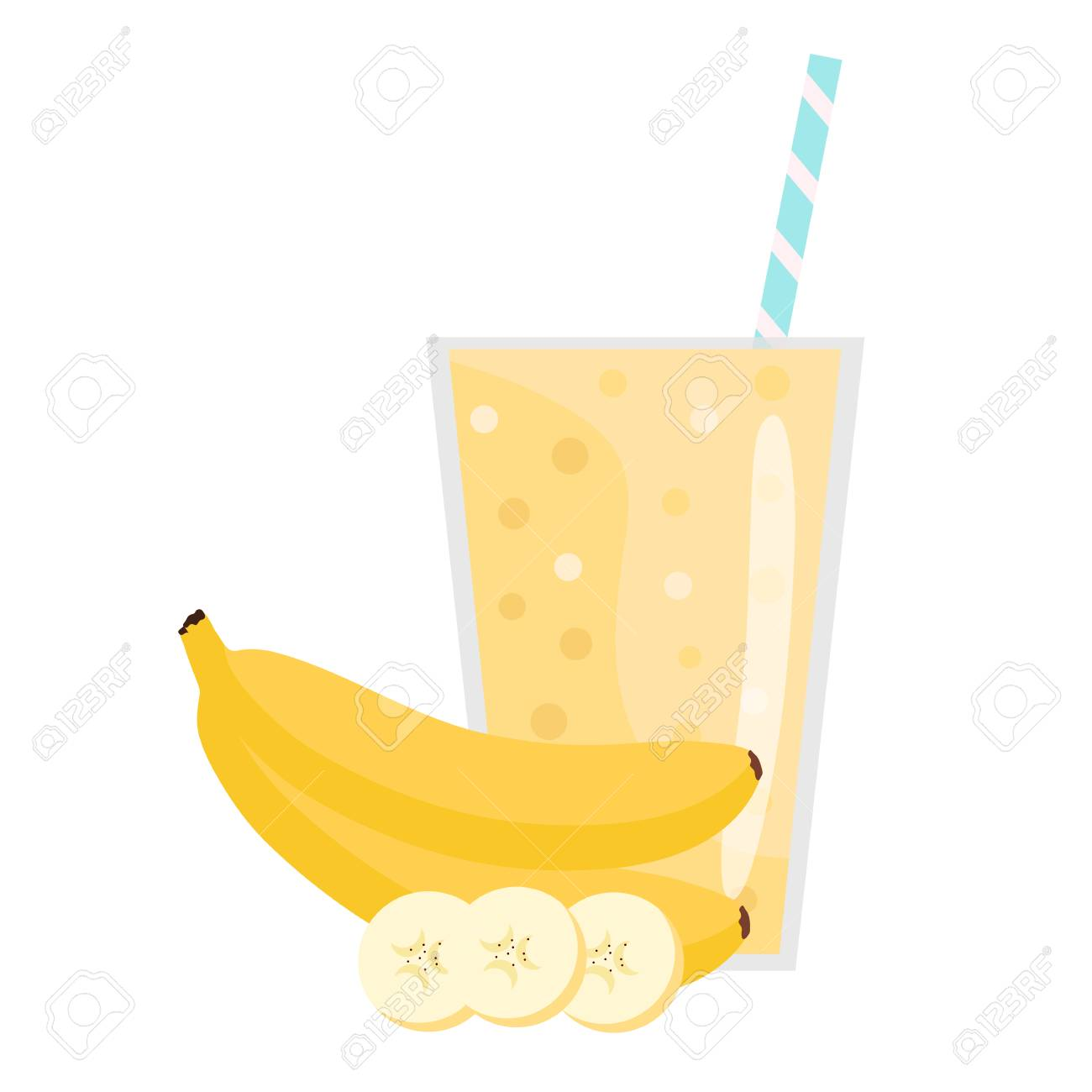 Banana Smoothie. Organic Fruit Shake Smoothie. Flat Design.