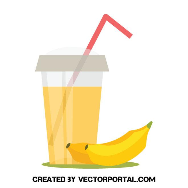 Banana smoothie vector image.