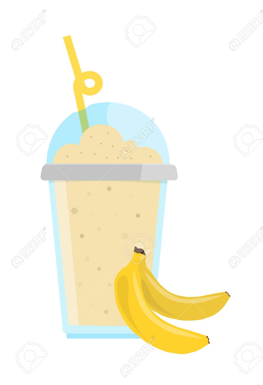 Tender Banana Milkshake With Chocolate In Cup With Cap And Straw.