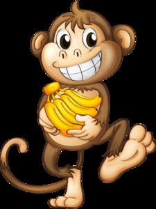 Happy Monkey With Bananas.