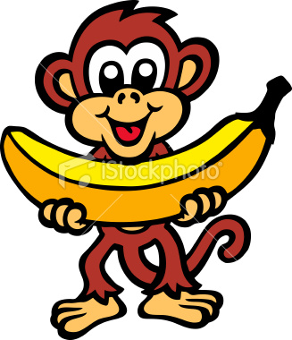 Monkey With Banana Clip Art.
