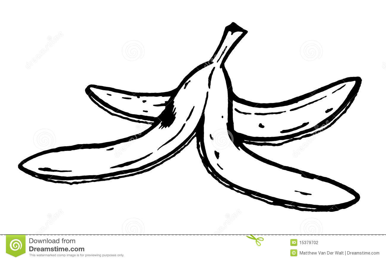 Banana peel clipart black and white.