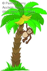 Clip Art Illustration of a Cute Little Monkey Hanging in a Banana.