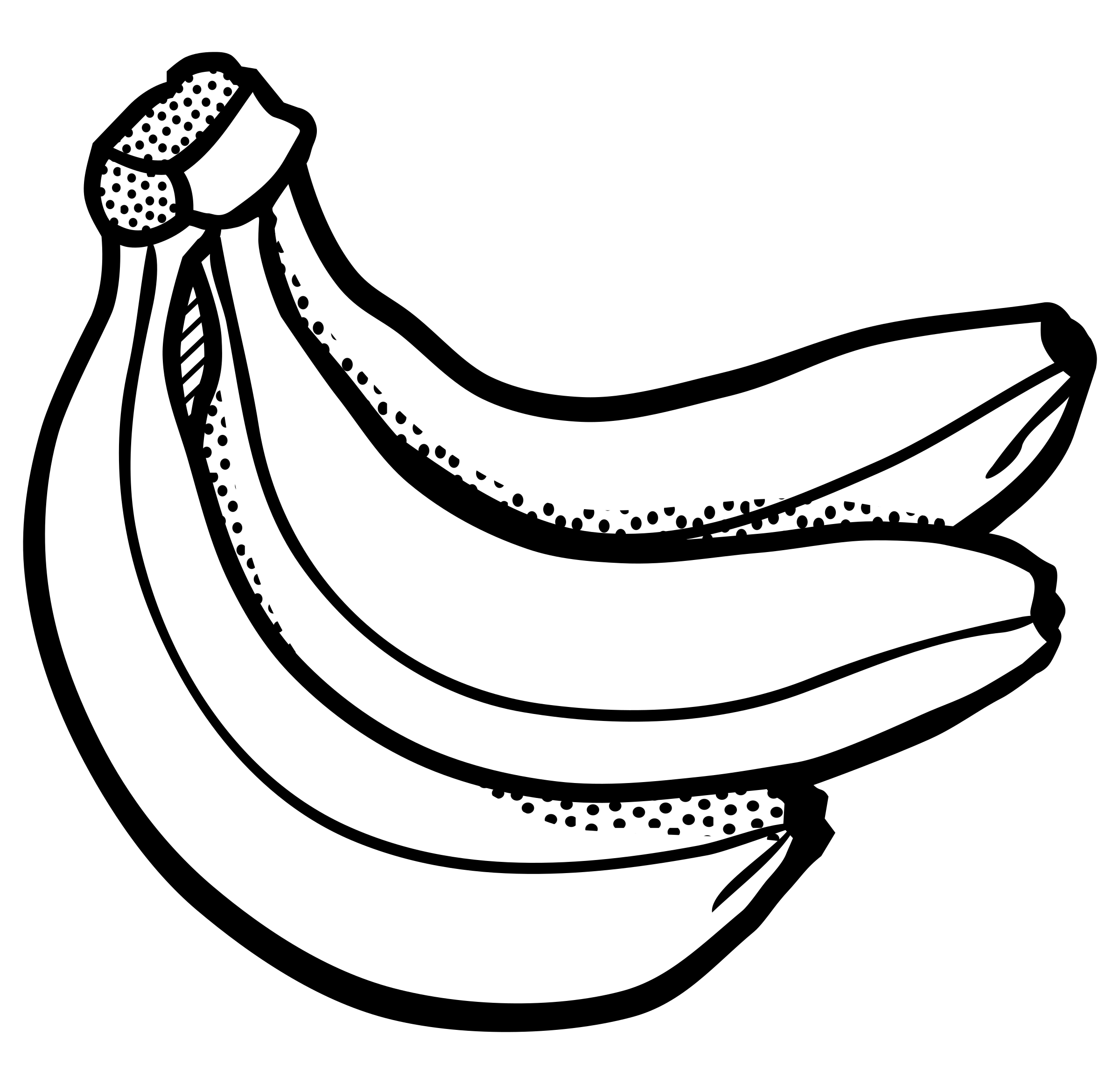 Clipart Of Banana Black And White.