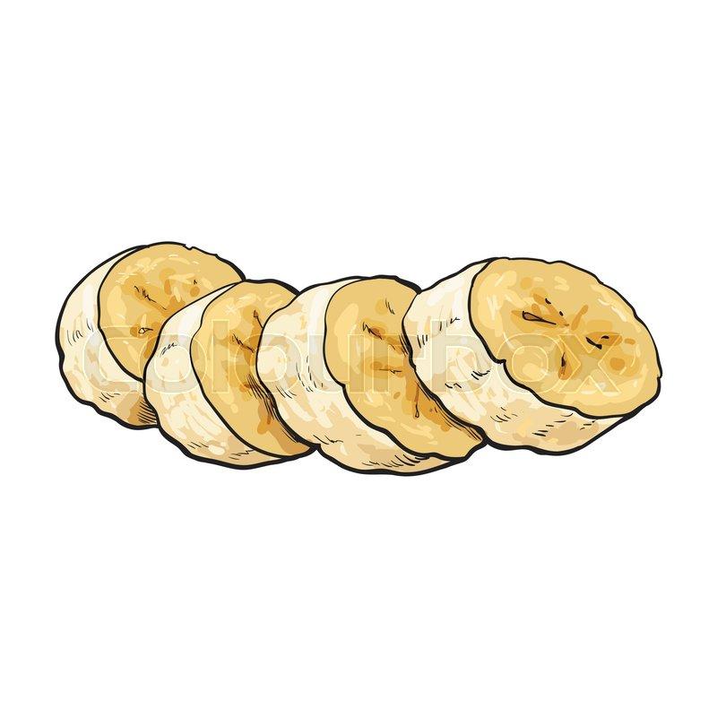 Sliced, chopped unpeeled ripe banana,.