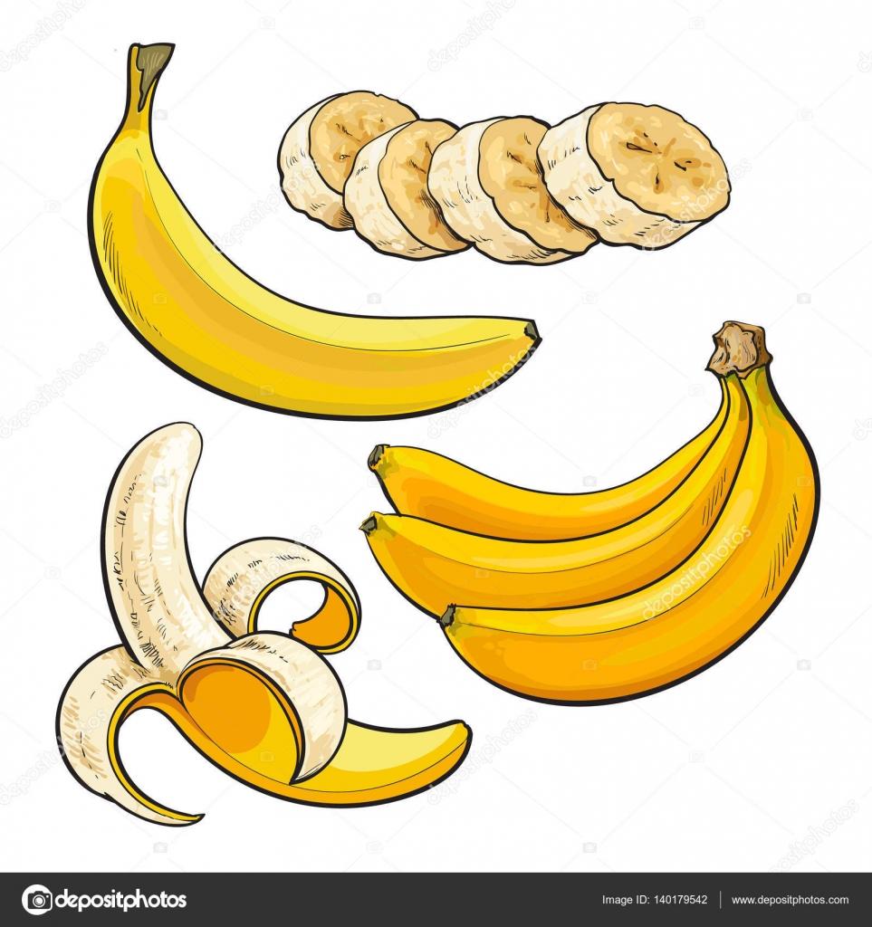 Sliced, peeled, singl and bunch of three ripe banana — Stock Vector.