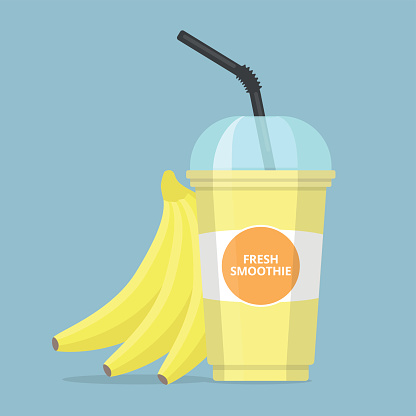 Banana Smoothie Clip Art, Vector Image Illustrations.