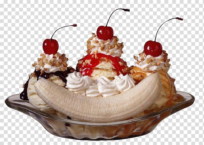 Sundae Ice Cream Cones Banana split, ice cream transparent.