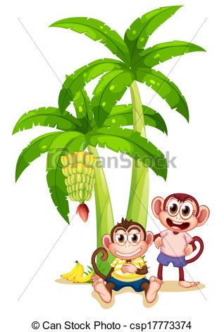 Vectors of Two monkeys near the banana plant.