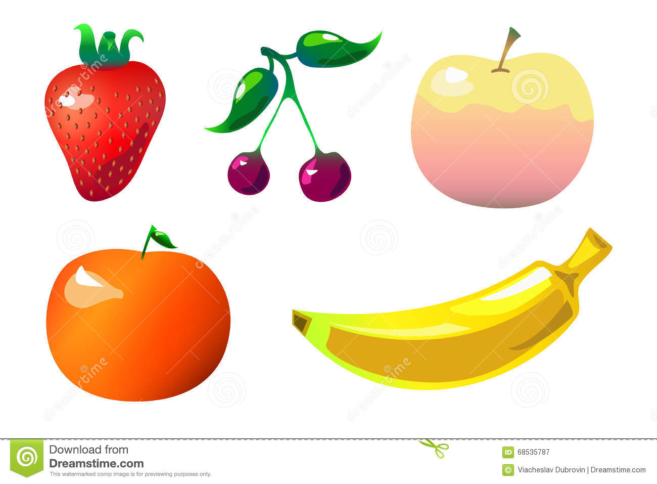 Colorful Fruits Clipart In Flat Comics Style On White Stock.