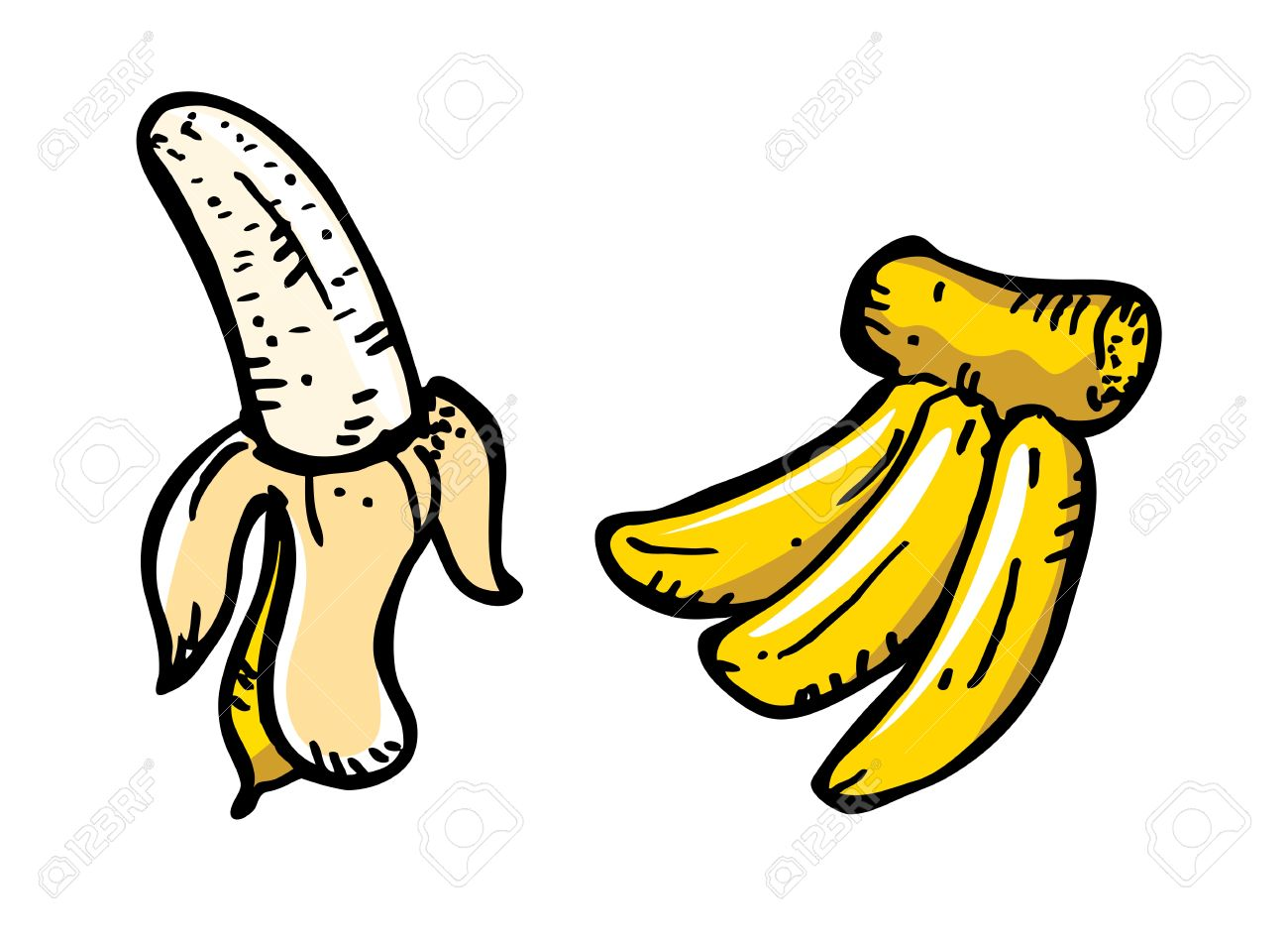 Banana In Doodle Style Royalty Free Cliparts, Vectors, And Stock.