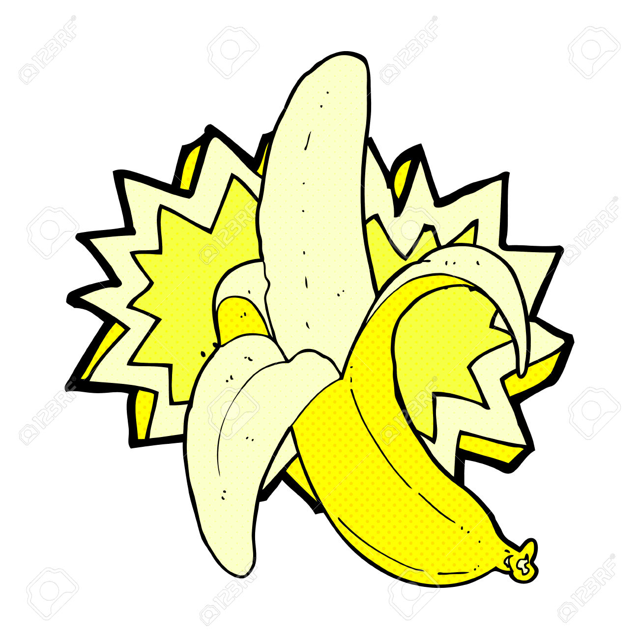 Retro Comic Book Style Cartoon Banana Symbol Royalty Free Cliparts.