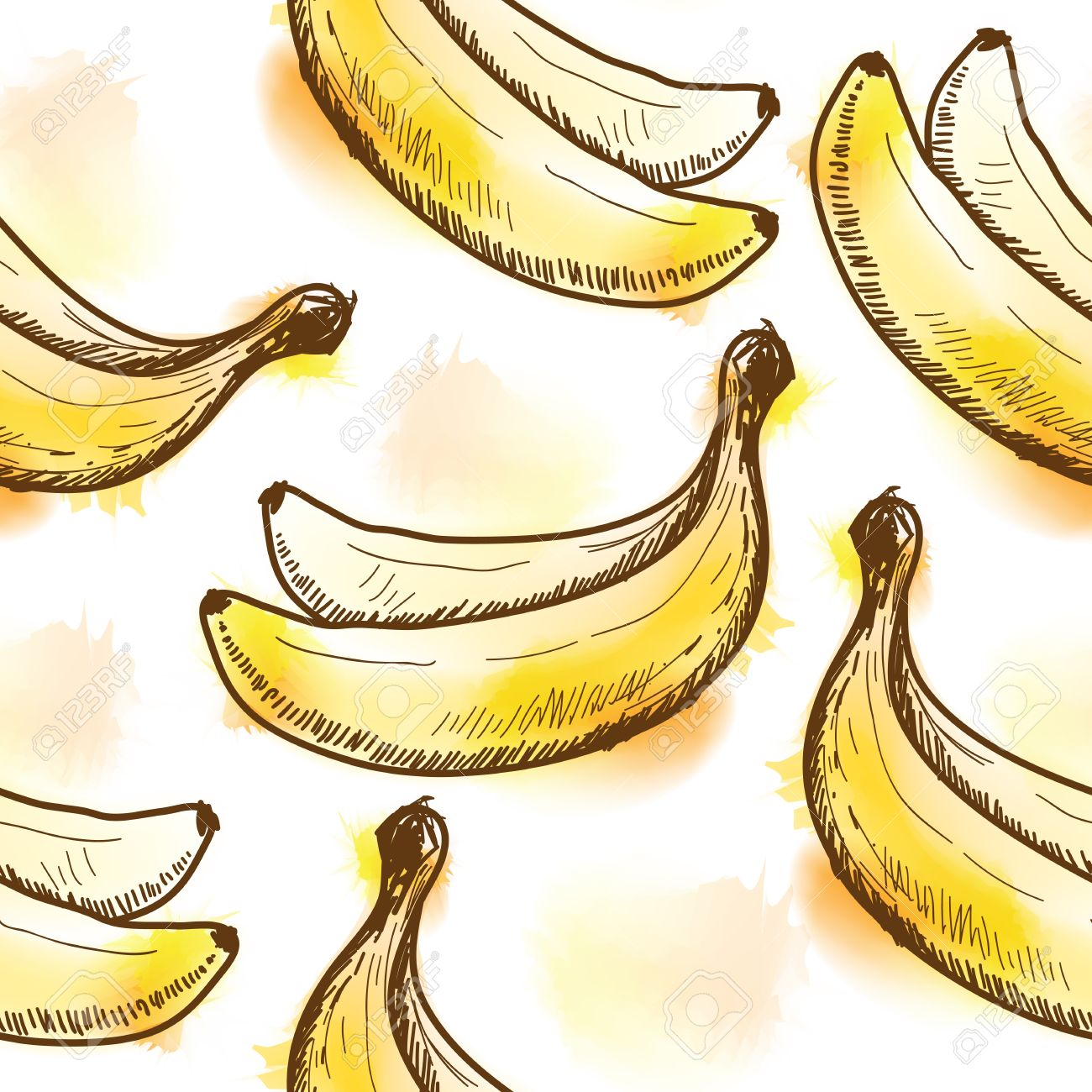Seamless Pattern With Banana Painted In Watercolor Style Royalty.