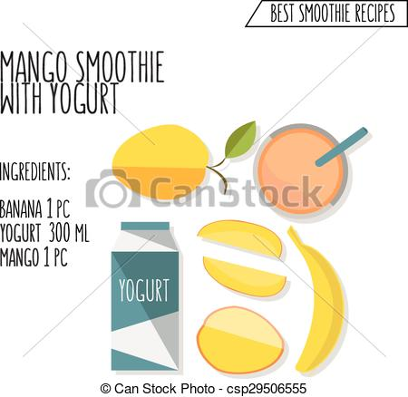 Clipart Vector of vector colorful illustration of mango and banana.