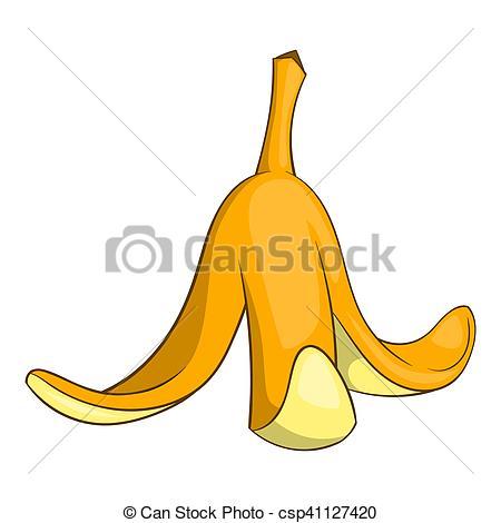 Clip Art of Banana peel icon, cartoon style.