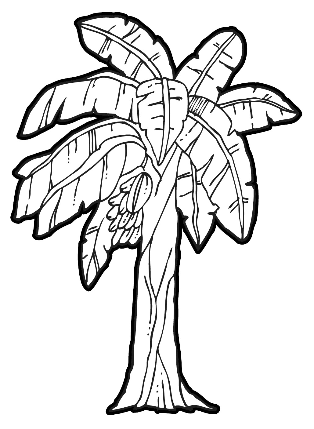 Banana tree leaf outline clipart.