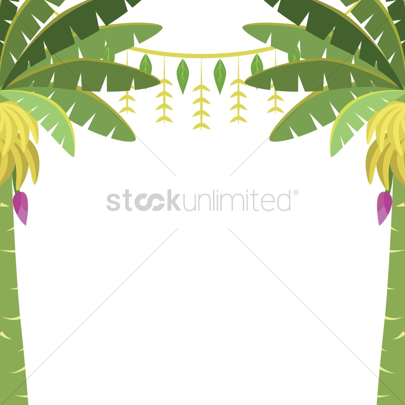 Banana trees with toran Vector Image.