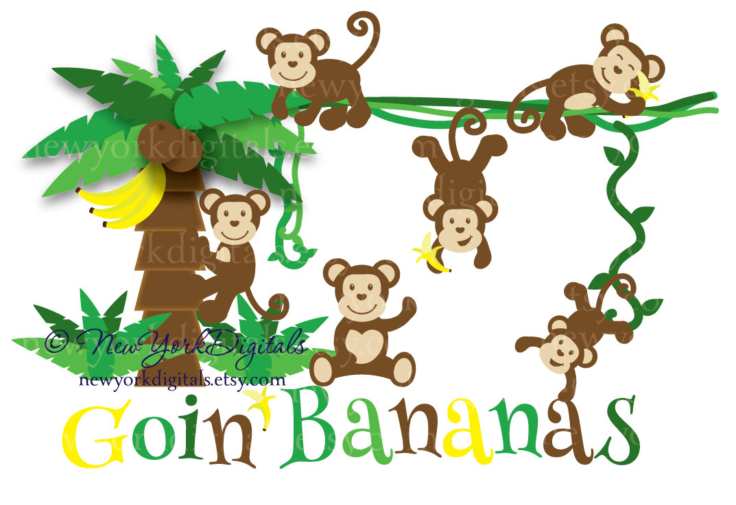 Monkey in a banana tree clipart.