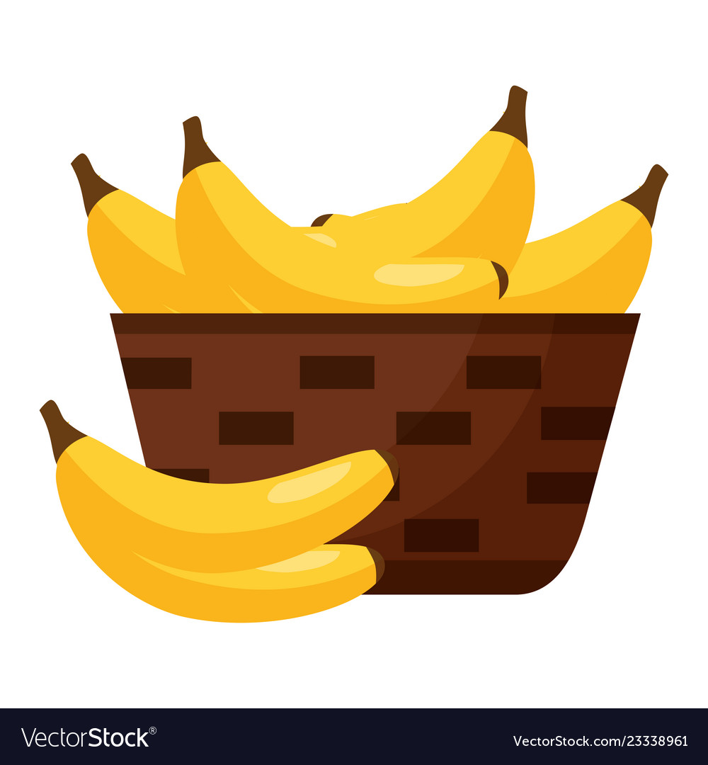 Wicker basket with fresh banana.