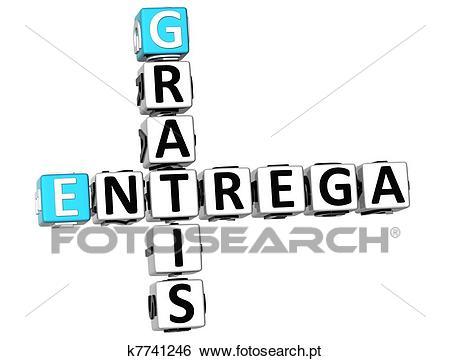 3d, entrega, gratis, crossword Banco de Imagens.