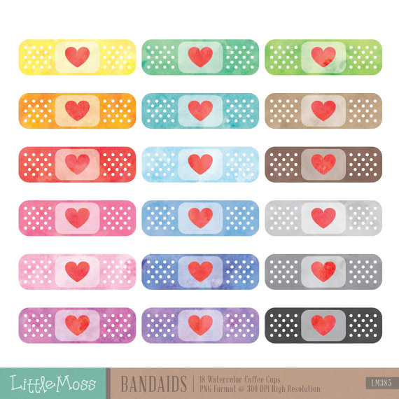 Watercolor Bandaids Clipart, Bandage Clipart, Plaster.