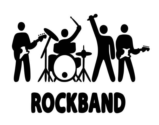 Best Rock Band Illustrations, Royalty.