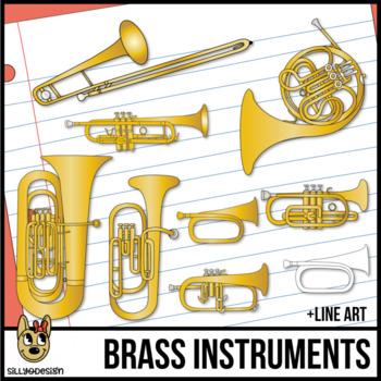 Brass Musical Instruments Clip Art.