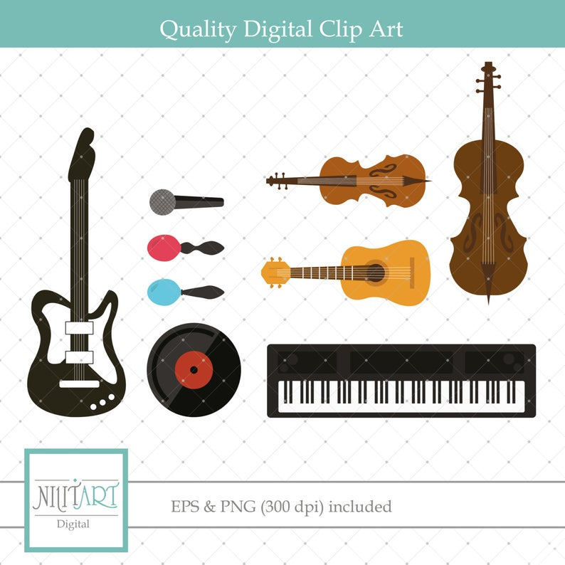 Musical instruments clipart, band instruments clipart, mic clipart ,Vector  graphics, Digital Clipart, Digital Images, CL 068.