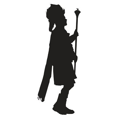 Pipe Band Leader Silhouette Clipart Image.