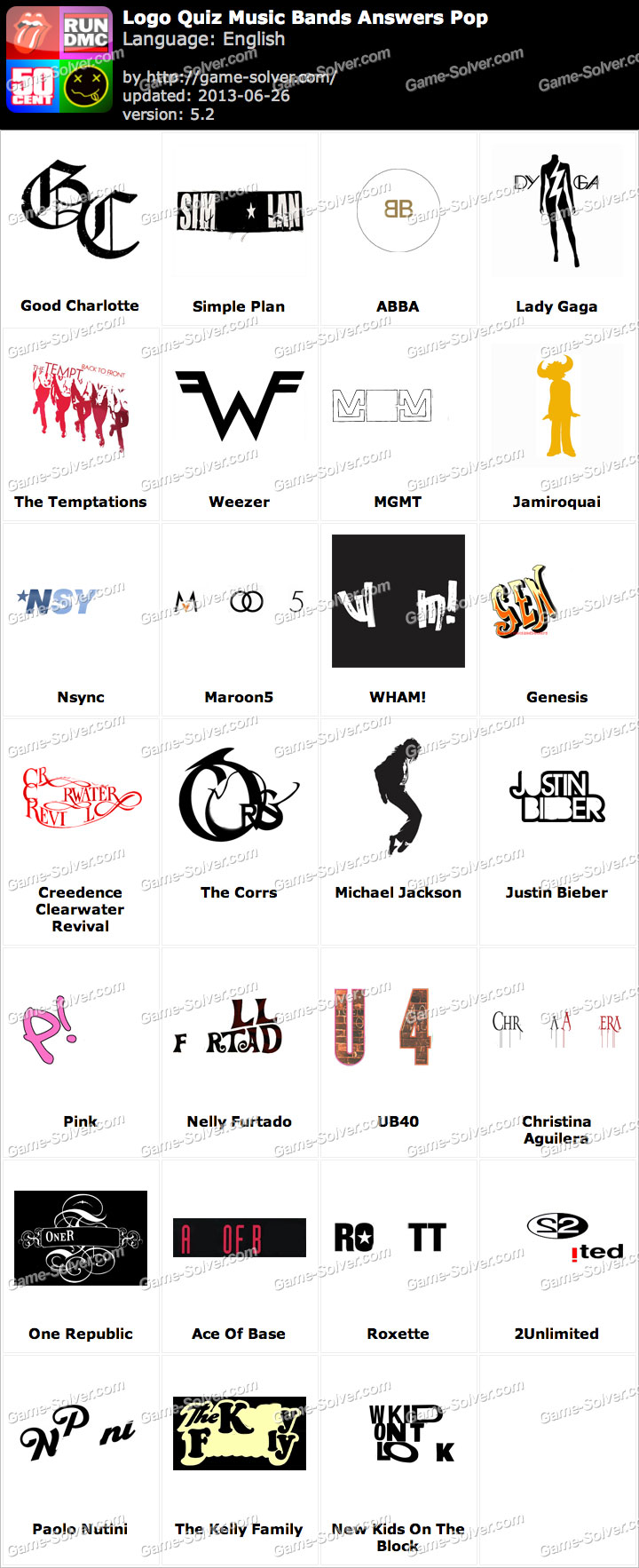 Logo Quiz Music Bands Answers Pop.