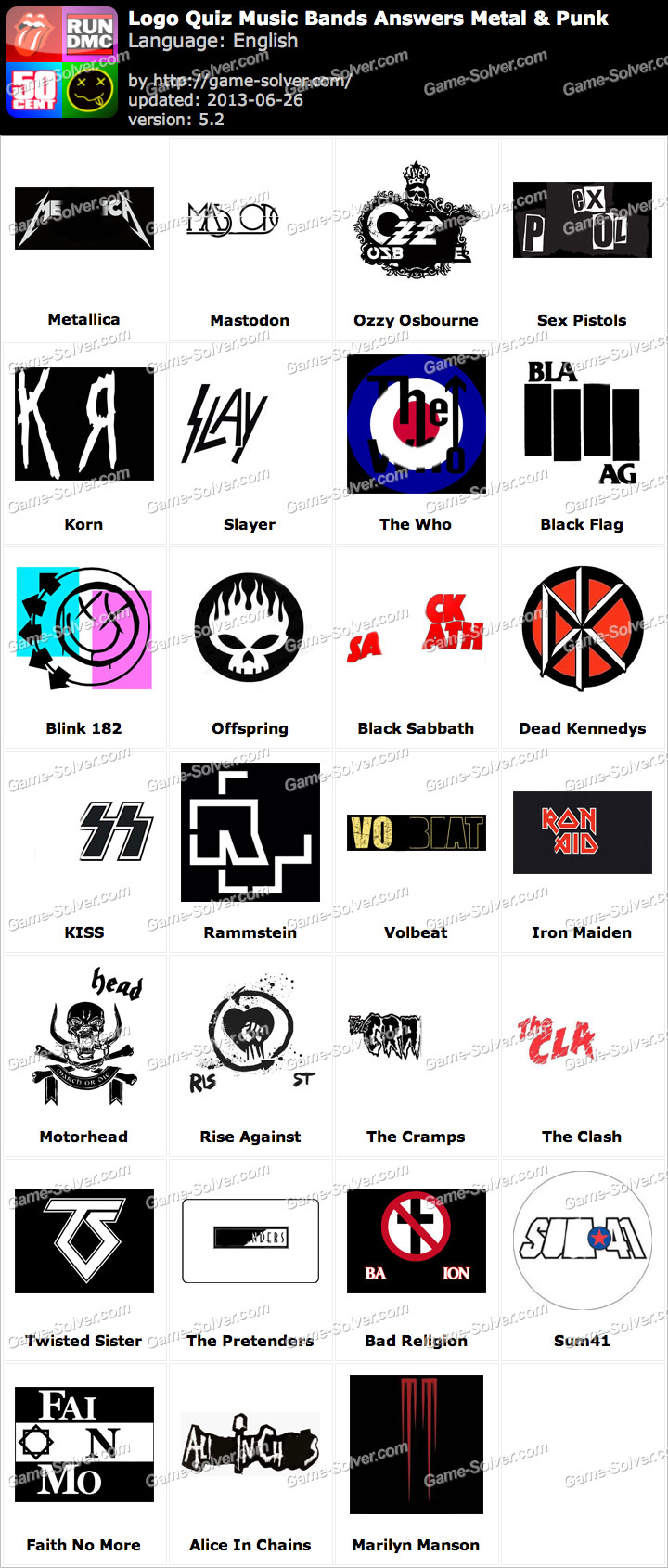 Logo Quiz Music Bands Answers Metal & Punk.