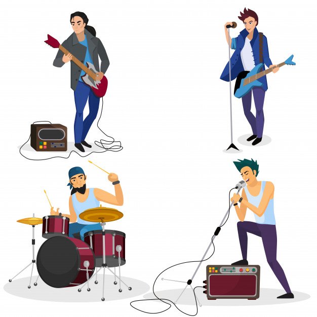 Miembros de la banda de rock aislados.