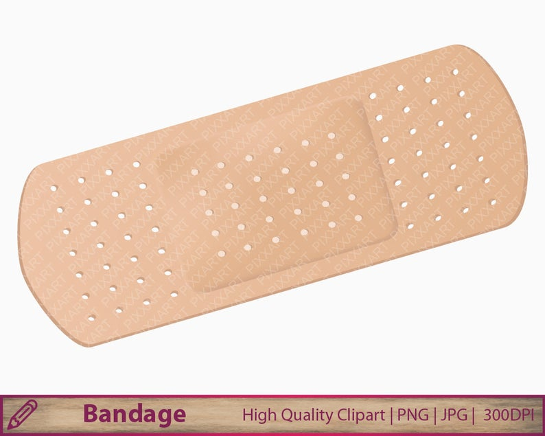 bandage clipart, medical clip art, band aid illustration, scrapbooking,  commercial use, digital instant download, jpg png 300dpi.