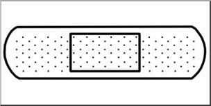 Clip Art: Medicine & Medical Technology: Adhesive Bandage B&W I.