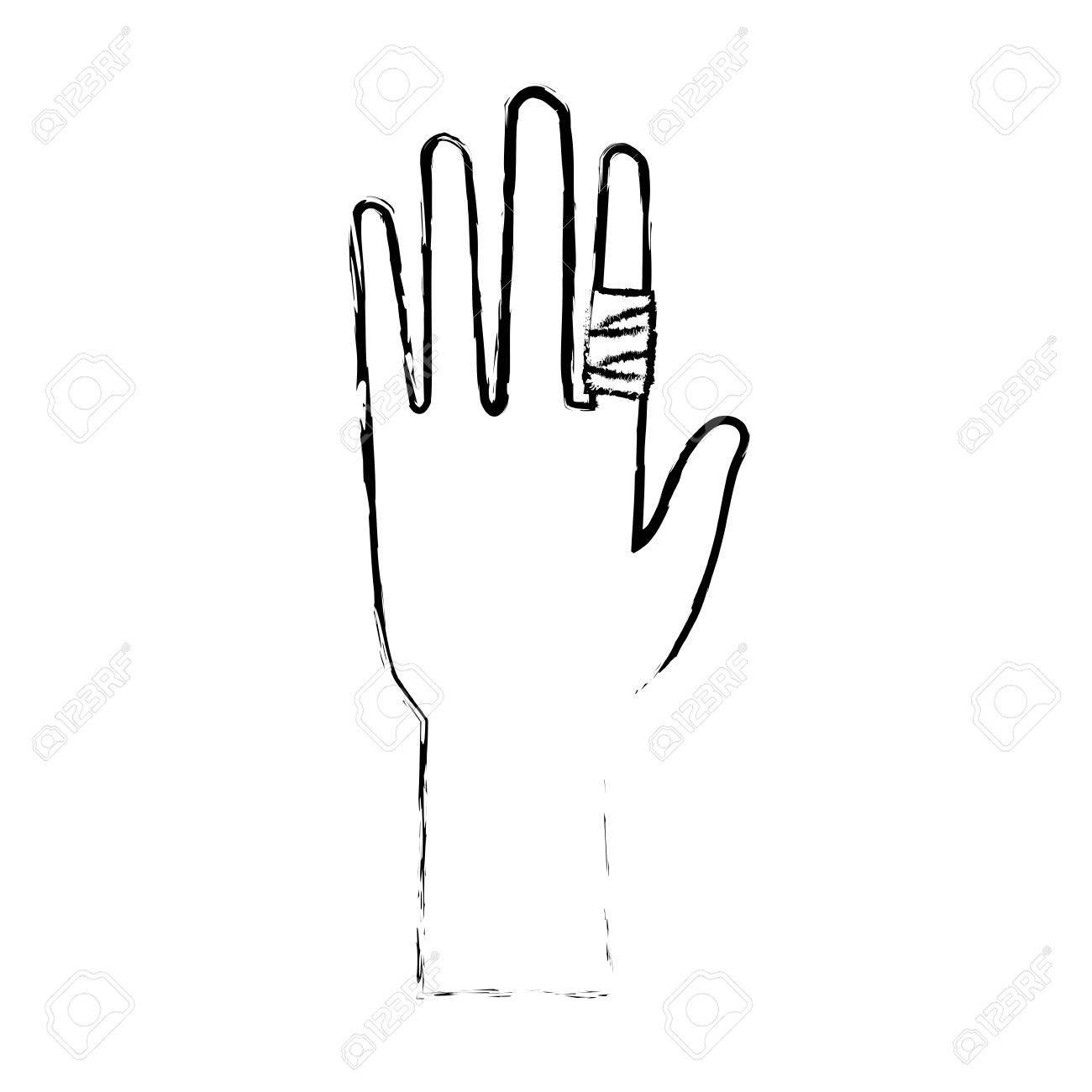 human hand with finger bandage medical vector illustration.