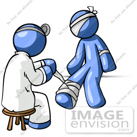 Clip Art Graphic of a Blue Guy Character Getting Bandaged By A.