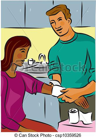 Clip Art of Man bandaging a woman's injured arm with gauze.
