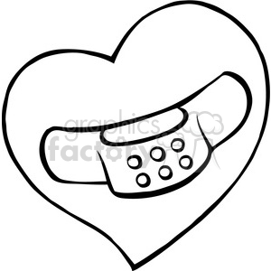 cartoon black white heart with bandaid on it clipart. Royalty.