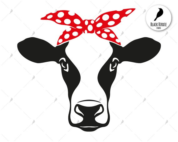 Cow head bandana svg, cow svg, cow bandana svg, farm svg.