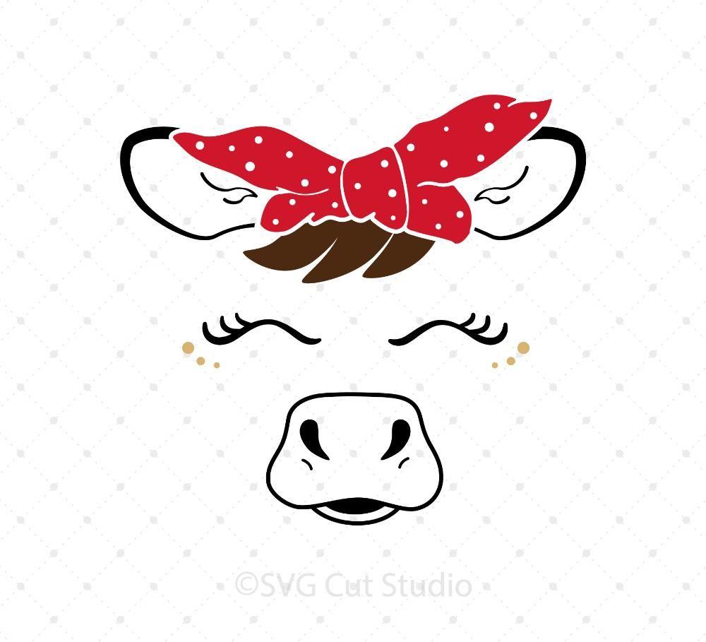 Heifer Face with Bandana SVG Cut Files.