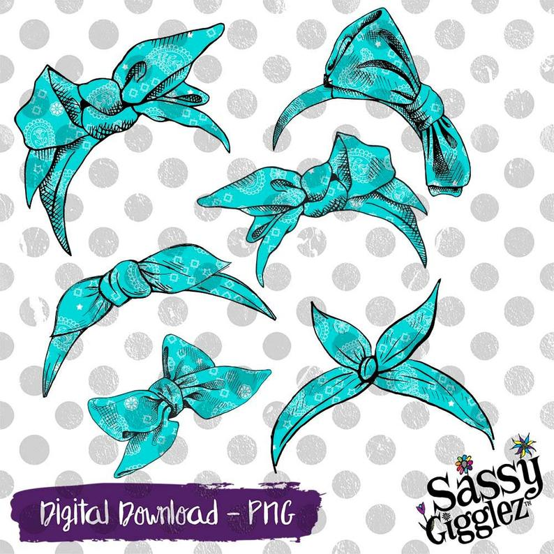 Teal Bandana Bows & Headbands Clipart Package, PNG, instant digital  download, graphics.