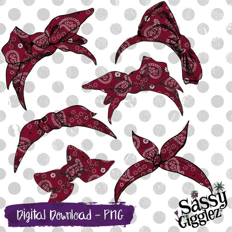 Maroon Bandana Bows & Headbands Clipart Package, PNG, instant digital  download, graphics.