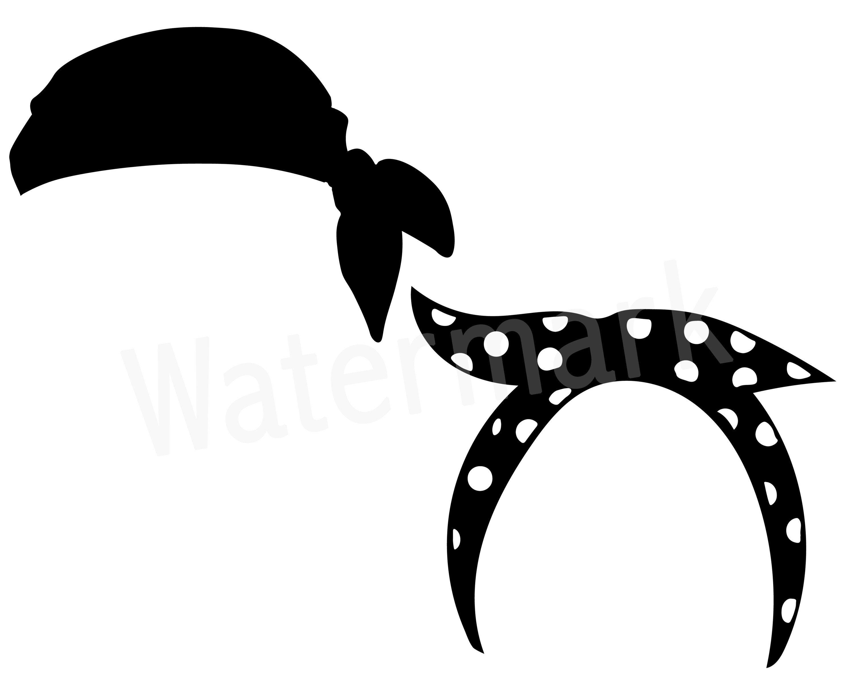 Bandana Headband SVG Silhouette Clipart, Headband Accessories.