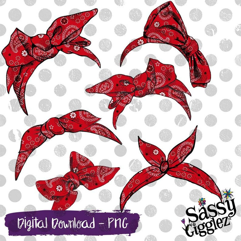 Red Bandana Bows & Headbands Clipart Package, PNG, instant digital  download, graphics.