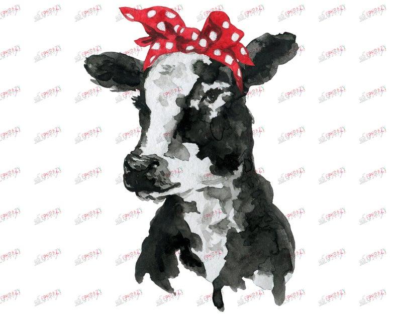 Cow, Face, Head, Black, White, Bandana, Print, Clipart, Art, Cute,  Watercolor,png, Sublimation, Design, Transfer, Shirt.