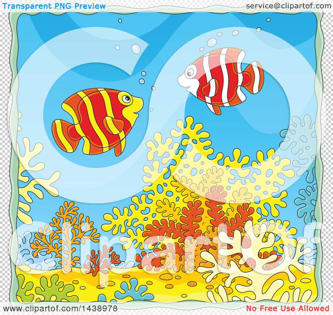 Clipart of Cartoon Happy Banded Angelfish over Corals.