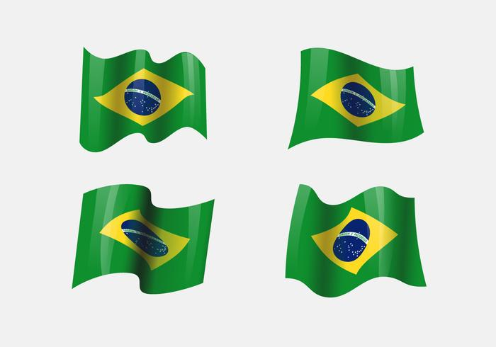 Realistic Brasil Flags Clipart.