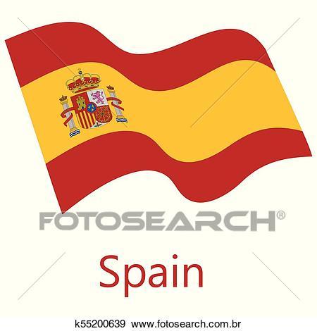 Bandeira espanha, vetorial Clipart.