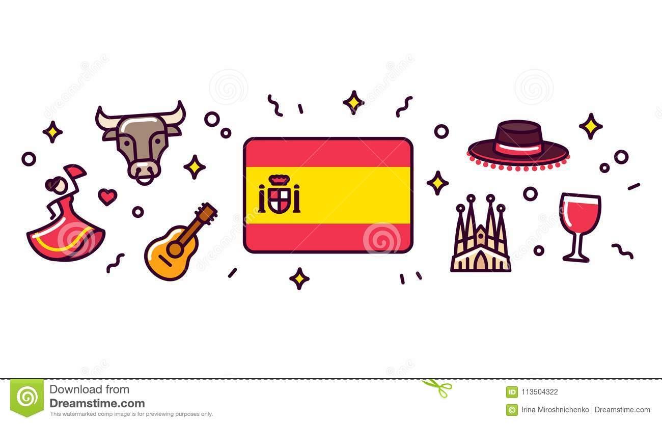 Ilustração Da Bandeira Dos Símbolos Da Espanha Ilustração do.