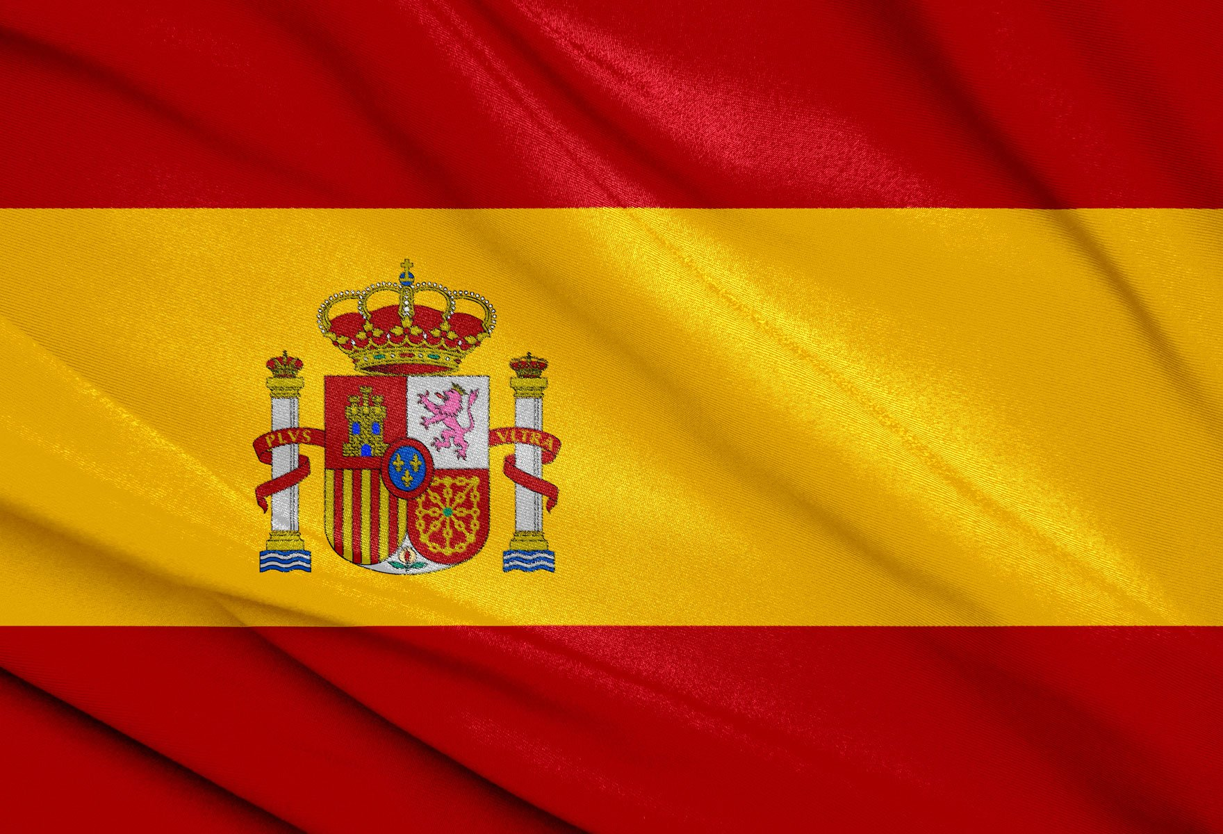 Download wallpapers Spanish flag, Spain, Europe, silk, flag.